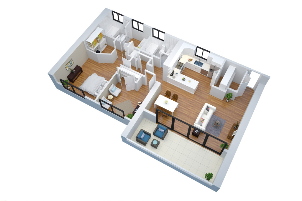 3d floor plan no text